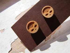 Image of  Laser etched wooden stud earrings