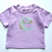 Image of Baby Alphabet Shirt - Lavender with rosebuds