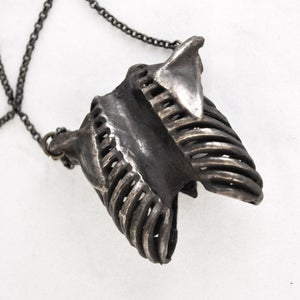 Image of Ribcage oxidized white brass
