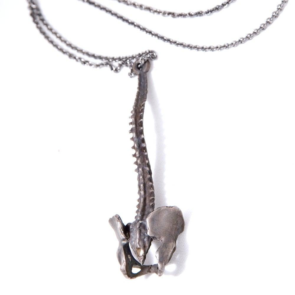 Image of Spine oxidized white brass