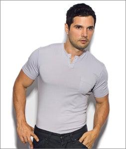 Image of Men's Short Sleeve Silver Henley