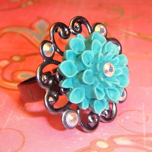 Image of Aqua Blossom Ring