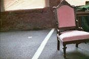 Image of vintage and cushy pink chair