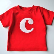 Image of Baby or Toddler Alphabet Shirt - Red with patterned white