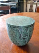 Image of Green Marble lidded vessel ( large)
