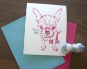 Image of Kiss me! Letterpress Chihuahua-Hundebaby-Grußkarte
