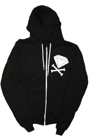 Image of Diamond & Crossbones Zip-Up Hoodie (Black/White)
