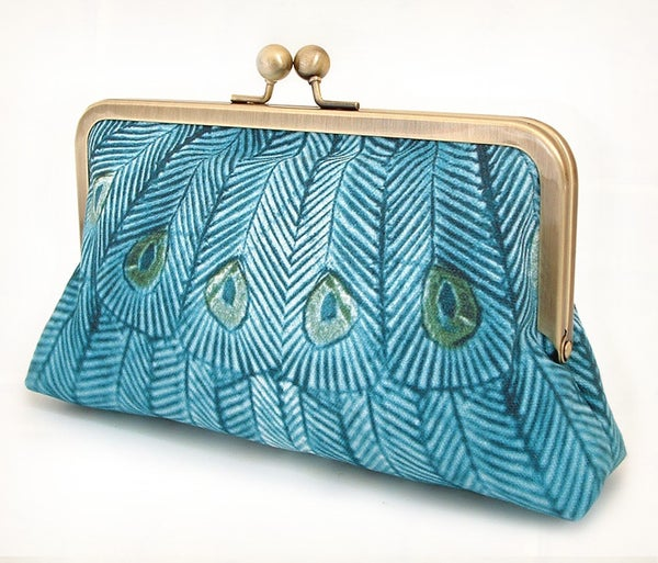 Teal peacock, original silk-lined clutch bag - Red Ruby Rose