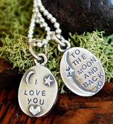 """Image of """"I love you to the Moon and back"""" sterling 2 sided charm"""