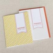 Image of hooray & thanks: 2-pk letterpress cards