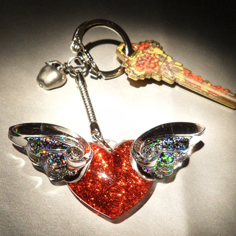 Image of Signature Apple & Winged Heart Key Chain/Purse Charm