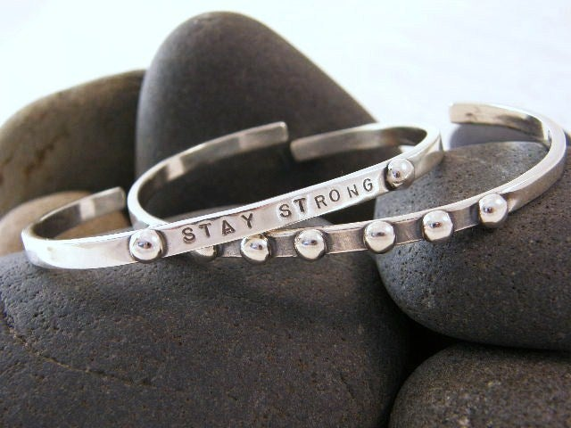"""Image of """"Stay Strong"""" sterling cuff bracelet"""