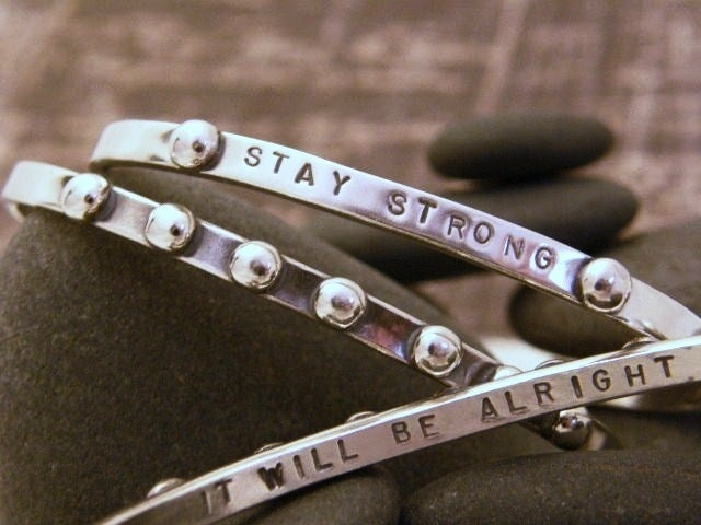 """Image of """"It will be Alright"""" (Bumpy Road) Sterling cuff bracelet"""