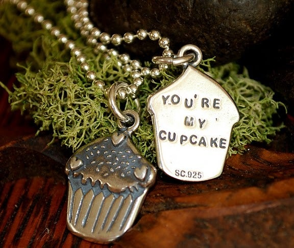 """Image of 3D Cupcake sterling charm, that says""""You're my Cupcake"""" on the back!"""