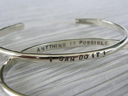 """Image of """"I Can do it ~ Anything is Possible"""" sterling cuff bracelet"""
