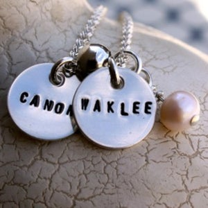 Image of Sterling Silver Necklace -- Two Teeny Tags With Charm