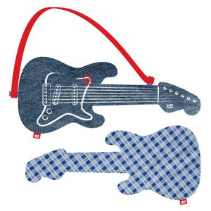 """Image of electric guitar """"blue check"""""""