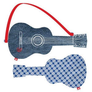 """Image of acoustic guitar """"blue check"""""""