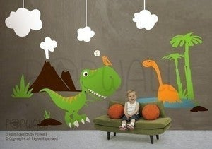 Image of Vinyl Dinosaur Theme Wall Decals Stickers Kids Boys -078