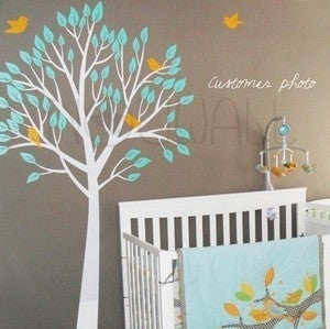 Image of Vinyl Wall Decal Art - Garden Tree With Birds - 056