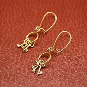 Image of Golden Keyring earrings
