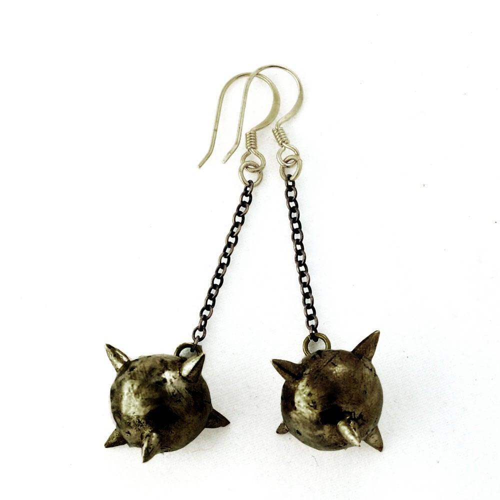 Image of Oxidized Short Mace Earrings