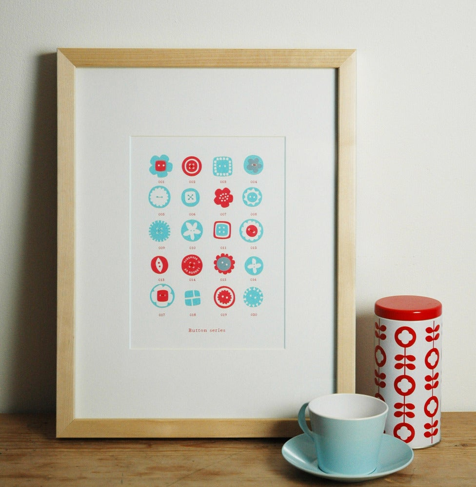 Image of Hand printed 'button series' print in red/blue