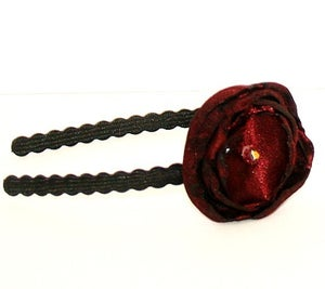 Image of Ruby Red Satin and Beaded Headband