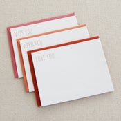 Image of miss/need/love you: 3-pk flat cards foil stamped