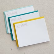 Image of hello there: 3-pk flat cards foil stamped
