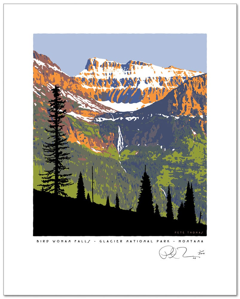 Image of Glacier National Park Limited Edition Serigraph - Birdwoman Falls