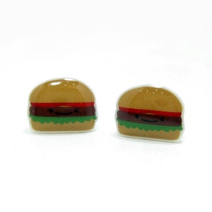 Image of Burger Earrings - Sterling Silver Posts