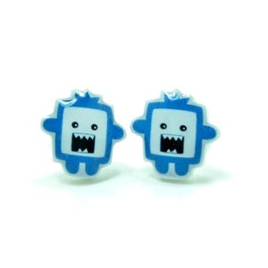 Image of Chomper The Blue Monster Earrings - Sterling Silver Posts
