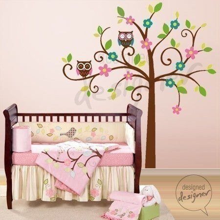 swirly tree with owls large dd1034 vinyl wall sticker