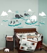 Image of Wonderful Arctic Polar Bears, Whales, Penguins  - dd1038 - Nursery Vinyl Wall Sticker Decal Baby Kid