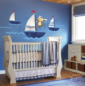 Image of NEW DESIGN - Sailor Monkey on Sailing Boat Nautical- dd1047 Vinyl Wall Decal Sticker Art Girl Boy Nu