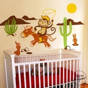 Image of Kids Nursery Vinyl wall sticker decal Art - Cowboy Monkey in the Desert with Rabbit - dd1044