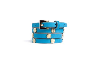 Image of Torqueise Leather Beltlett with Gold BW Studs