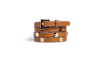 Image of Safari Leather Beltlett with Gold Screw Studs