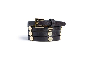 Image of Black Leather Beltlett with Gold Screw Studs