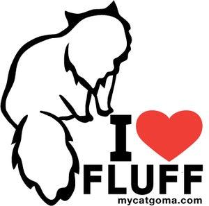 Image of I Love Fluff Bumper Sticker 4X4 Color