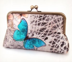 Morphos butterfly, luxury silk clutch purse - Red Ruby Rose