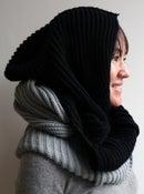 Image of wool hooded neck-warmer - black