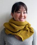 Image of wool hooded neck-warmer - yellow
