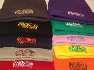 Image of nick-e-nice wooly hats with mr nice logo