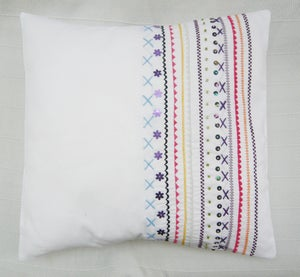 Image of Hand/machine embroidered and hand beaded stripe cushion