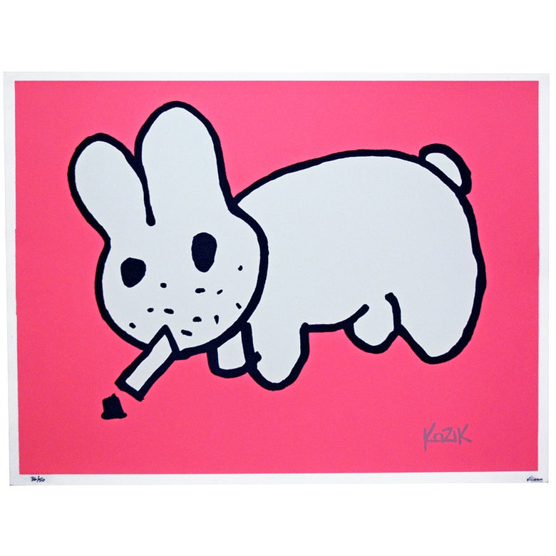Image of Frank Kozik Smorkin Labbit Ltd Edition - Flouro Pink