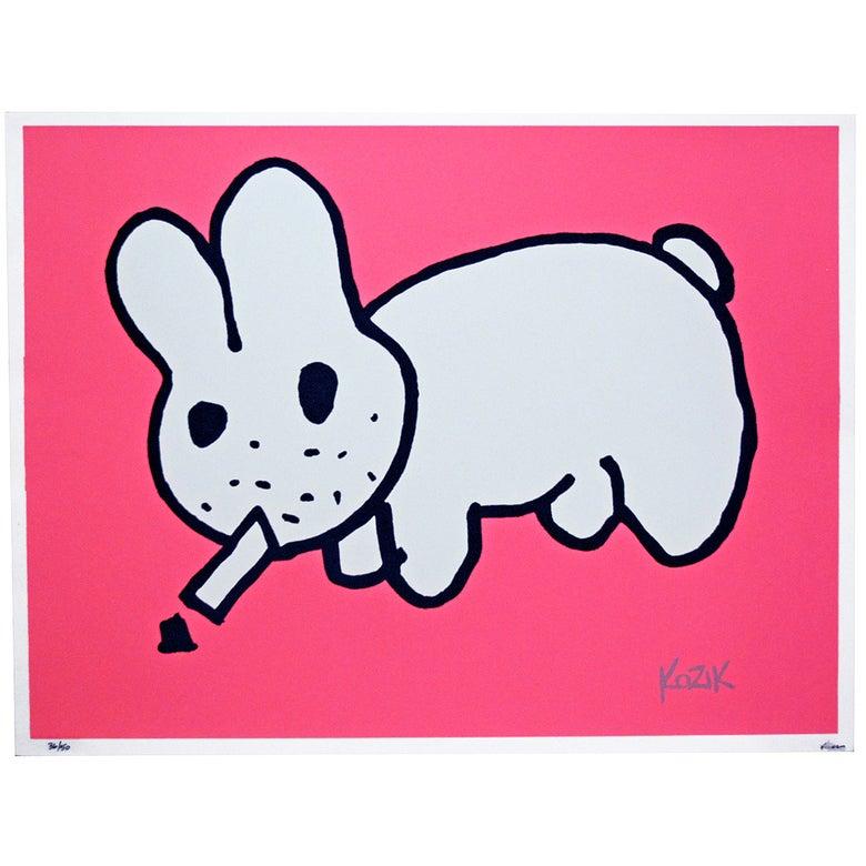 Image of Frank Kozik Smorkin Labbit Ltd Edition - Flouro Pink