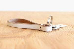 Image of White Leather Key Chain