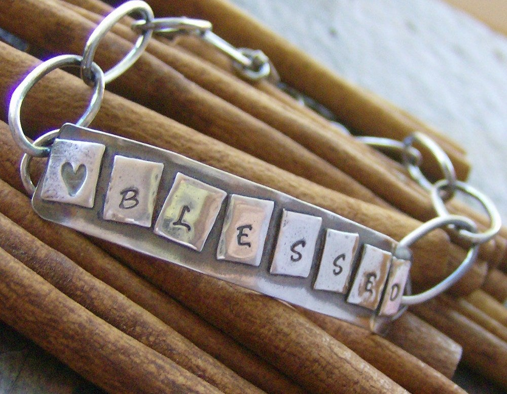 Image of Game Night.... hand stamped sterling silver bracelet